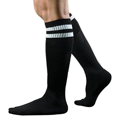 Kolylong® 1 Paar Männer Herren Fußball Gestreift hohe Socken Eishockey (Schwarz)