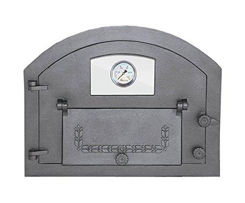 Backofentür Ofentür Pizzaofentür Holzbackofentür Steinbackofentür aus Gusseisen mit Thermometer und Ofenscheibe | Außenmaße: 610x480 mm | Öffnungsrichtung: links