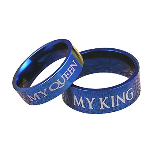 Ubestlove Matching His and Hers Rings Engraved My Queen My King Blue Rings for Women Stainless Steel J½ Z½