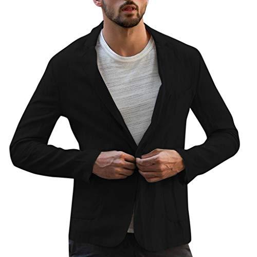 Men's Slim Fit Tops Linen Blend Solid Jacket Long Sleeve Suits Blazer Outwear Black