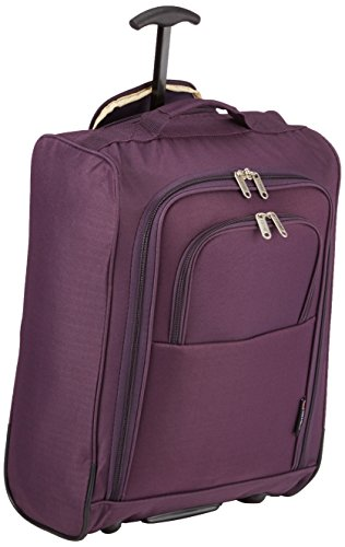 5Cities 50cm Lightweight Trolley Hand Luggage Bag - Approved Ryanair & Easyjet 2 Wheel Cabin Carry On Board Baggage. 42L Travel Suitcase Bag with Padlock. (50CM, Plum)