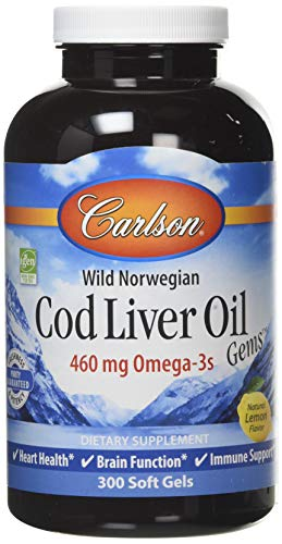 Carlson Labs Wild Norwegian Cod Liver Oil Gems softgels, 460mg, 300-Count