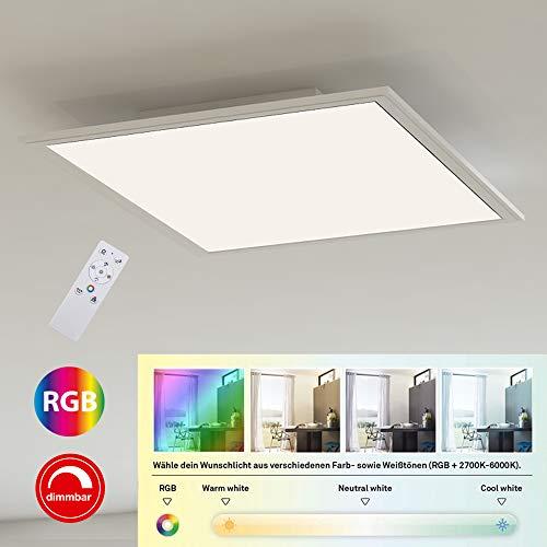 Briloner Leuchten - Ultraflaches RGB CCT LED Panel, Deckenleuchte quadratisch (45 x 45cm), Weiß, Farbtemperatursteuerung (3.000-6.500 Kelvin), Dimmbar, 2.400 Lumen Lichtleistung