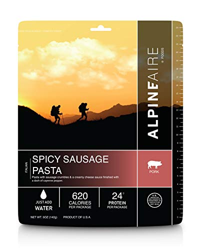 Spicy Pork Sausage Pasta Freeze-Dried/Dehydrated Entrée Meal Pouch, Just-add-water, 2-Servings per Pouch, 12g of Protein per serving