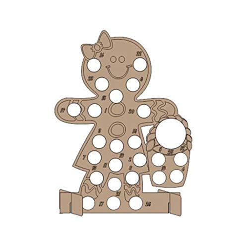 Lazder - Calendario de adviento de madera hecho a mano para árbol de Navidad con cuenta atrás, madera, 03., medium