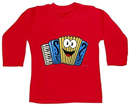 Hariz - Camiseta de manga larga para beb, acorden sonriente, instrumento infantil, tarjeta de regalo, bomberos, rojo 3-6 meses