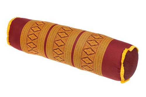 Handelsturm Thaikissen Nackenrolle 50x13 mit Füllung aus Kapok Yoga Bolster Yogakissen Rolle Feste Kissenrolle (Thaimuster Orientrot-Gold)