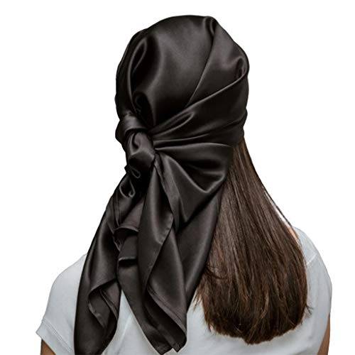 Mulberry Park Pure Silk Head Scarf Bandana - Wake Up with Less Frizz, Helps Maintain Hairstyle, Supports Hair Regrowth, Head Wrap Scarf for Sleeping - 19 Momme Silk, Grade 6A - 36 Inch Square Black