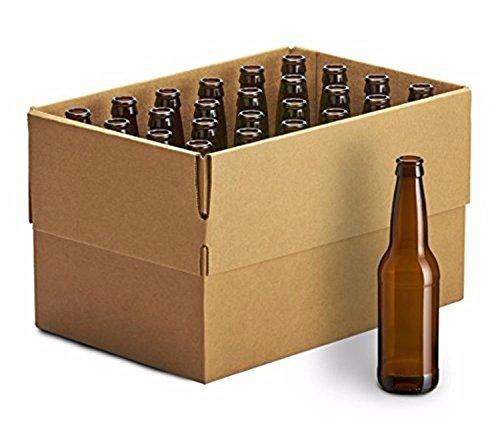 Monster Brew Home Brewing Supplies 24 Pack Amber Long Neck Bottles, 12oz - set of 2
