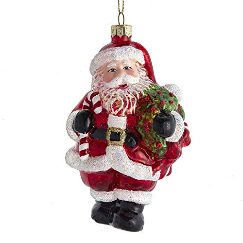 Kurt Adler T2727 Santa with Wreath Red and White Ornament, 5-inch High, Glass