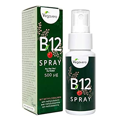 Vitamin B12 Spray 25ml | 125 Sprays, 4 Month Supply | 250 mcg per Spray, B12 Methylcobalamin | Cherry Flavour Liquid | Vegan & Vegetarian by Vegavero from Vanatari International GmbH
