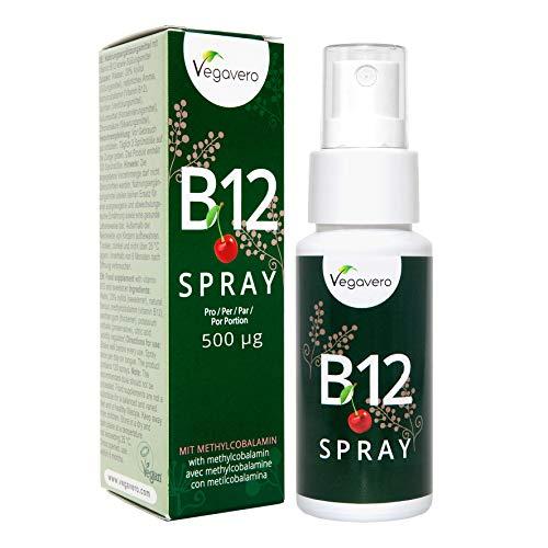Vitamina B12 Spray Vegavero® | 500 mcg | Apto para Veganos | Sabor a Cereza Natural | Testado en Laboratorio | Energía + Fatiga* | 25 ml | Metilcobalamina