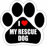 'I Love My Rescue Dog' Car Magnet With Unique Paw Shaped Design Measures 5.2 by 5.2 Inches Covered...