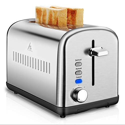 Image of 2 Slice Toaster, Compact Brushed Stainless Steel Toasters with Warmer Rack, Defrost Reheat Cancel Button with 7 Browning Settings and Removable Crumb Tray: Bestviewsreviews