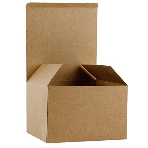 RUSPEPA Cajas De Regalo De Cartón Reciclado - Cajas De Regalo para Regalo con Tapas A Granel - 15.5X15.5X10.5 cm - Paquete De 20 - Kraft