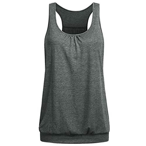 TUDUZ Damen Große Größe Camisole Rundhals Falten T-Shirt Weste Bluse Ärmellos Stretch Tunika Top (Dunkelgrau, XL)