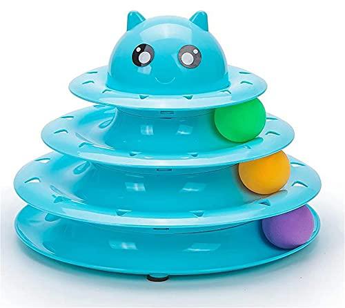 AOTEMAN Gato Juguete 4 Niveles Gato Juguete Torre Pistas Juguetes para gatos Interactivos Cat Inteligencia Entrenamiento Placa de atracciones Torre Gato Productos para mascotas Túnel de gato (azul)