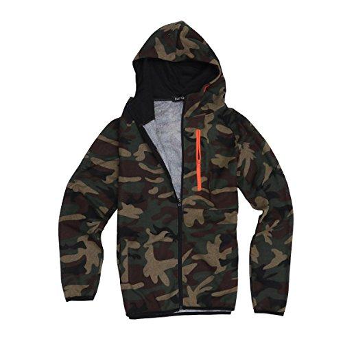 OULII Camouflage Sports Suit Manches Longues Sportwear Hoodies Cardigan extérieur Veste Manteau pour Les Hommes Taille 2XL (Camouflage Vert)