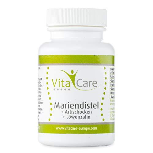 VitaCare Mariendistel + Artischocke + Löwenzahn - 120 vegane Kapseln - Nahrungsergänzungsmittel mit pflanzlichen Extrakten zur Entgiftung & für den Leberschutz
