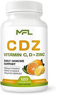 MFL C D Z | Vitamin C, 1000mg | Vitamin D3, 125mcg | Zinc, 25mg | Non-GMO & Gluten Free | 120 Vegetarian Capsules | 120 Se...
