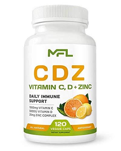 MFL C D Z | Vitamin C, 1000mg | Vitamin D3, 125mcg | Zinc, 25mg | Non-GMO & Gluten Free | 120 Vegetarian Capsules | 120 Servings