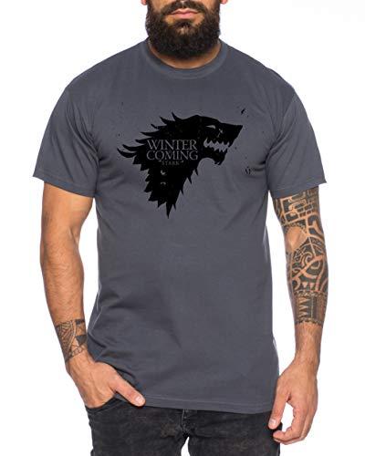 Tee Kiki Coming Game Maglietta da Uomo Cool Thrones Shirt, Farbe2:Grigio Scuro, Größe2:X-Large
