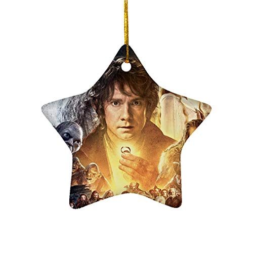 Tiyena Christmas Star Ornament The Hobbit Poster Bilbo Gandalf Lord Fantasy Wizard of The Ring Film Adventure for Home Living Room Decoration Outdoor Desk Ceramic 3in (1/2/3) pcs/Pack