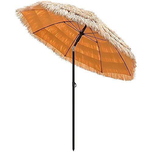 Paraguas Tiki para exterior, paraguas hawaiano de paja de 6 pies con función de inclinación y diseño portátil, paraguas de playa con flecos para barra Tiki al aire libre