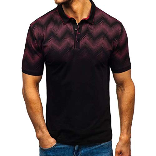 Polo Shirt for Men F/_Gotal Mens Cotton Hawaiian Stand Collar T-Shirts Fashion Summer Short Sleeve Stiped Casual Blouse Tops