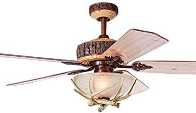 52 Inch Indoor Ceiling Fan Chandelier With Remote Control 1 Light Cover Antler 5 Wood Blades For Rustic Living Room Bedroom