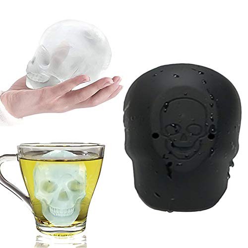 Eisform Silikon Lifemaison 3D BPA Frei Schädel Eiswürfelform mit Deckel 3D Skull Eiswürfel Silikonform Halloween Geschenke