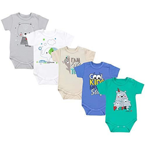 TupTam Unisex Baby Kurzarm Body mit Aufdruck Spruch 5er Pack, Farbe: Junge 4, Größe: 56