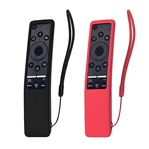SIKAI 2-Pack Cover Remota per Telecomando Compatibile con Samsung Smart TV BN59-01259B Telaio in Silicone Pieno protettivo Conchiglia per Samsung Remote Control Bumper Case (Nero-Rosso)