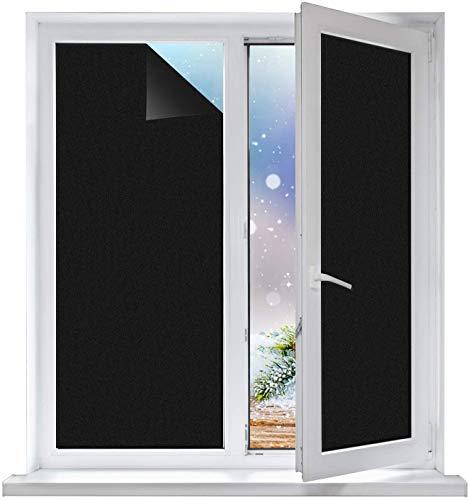 Linarun Fensterfolie, Blickdicht Selbstklebend Spiegelfolie Fenster Verdunkelungsfolie Schwarz Klebefolie Fenster Folie für Badezimmer und Büro (60x400 cm)