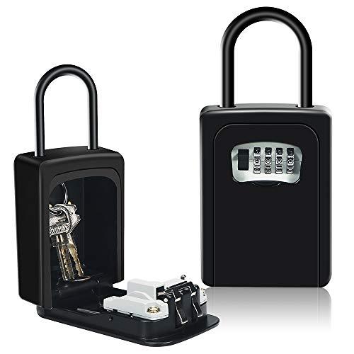 HUSAN Caja de seguridad para llaves con grillete para montar en la pared, caja de almacenamiento con cerradura para llaves, para casa, garaje, escuela, repuesto de llaves de casa (Negro con Grillete)