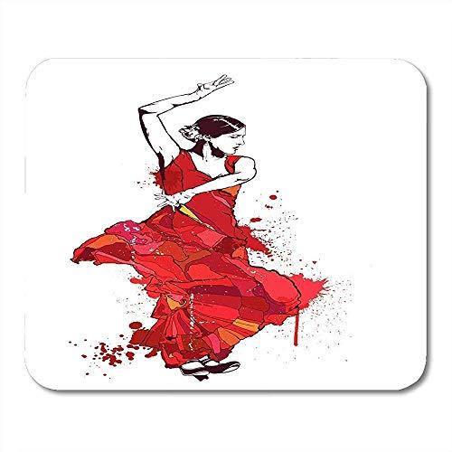 Alfombrillas de ratón Colorido España Vintage Chica española en Vestido Rojo Baila Bailarina de Flamenco Señora Alfombrilla de ratón, Computadoras de Escritorio Alfombrillas de ratón