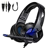 TedGem Headphones, Headset, Surround Sound Kopfhörer, 3.5mm Gaming Kopfhörer mit Mikrofon, LED Licht Headset PS4, Headset PC für Xbox One PC Laptop Mac Tablet