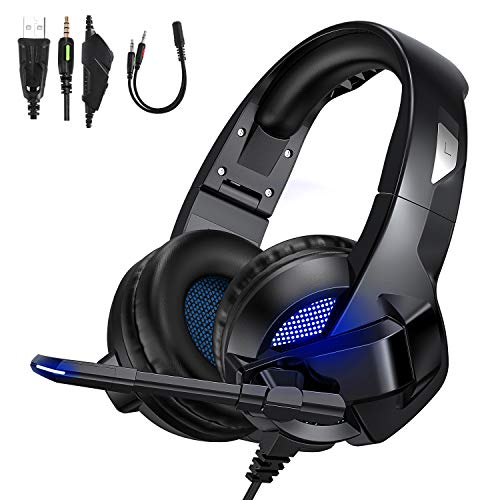 TedGem Auriculares, Auriculares con Microfono, Sonido Envolvente Estéreo Auriculares Gaming, 3.5mm Headset PC, LED Headphones PS4, Headset Gaming para PC Laptop Mac