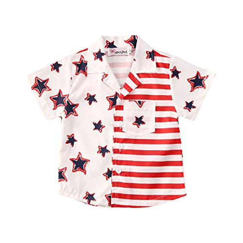 xkwyshop Toddler Boy 4th of July Outfit Short Sleeve Striped Star Fourth of July Toddler Boy Tank Top Shirt Clothes 6M-5T (White, 3-4 Years)
