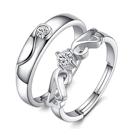 letaowl Anillo abierto para las mujeres 1 par de anillos de circonio par encanto anillos abiertos para mujeres hombres anillos de boda ajustables