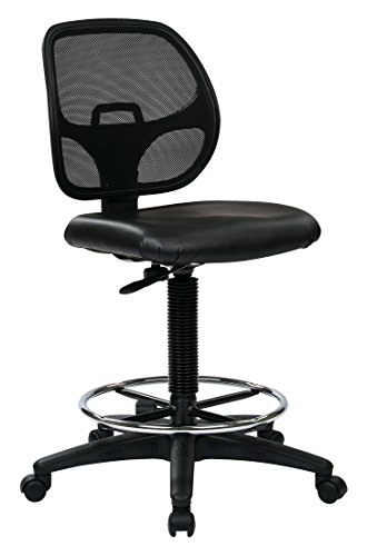 Office Star Deluxe Vinyl Seat and Mesh Back Drafting Chair