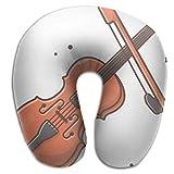 Almohada en forma de U de viaje Icono de violonchelo Música Violín Jazz Concierto musical Almohada en forma de U estándar Cómoda almohada de apoyo para la cabeza y el cuello con cojín de espuma visco