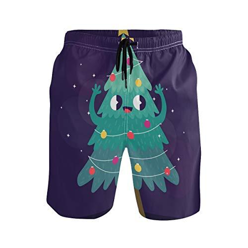 BONIPE Herren Badehose süße Cartoon-Weihnachtsbaum Smiley Stern schnell trocknend Boardshorts mit Kordelzug und Taschen Gr. L/XL, Mehrfarbig