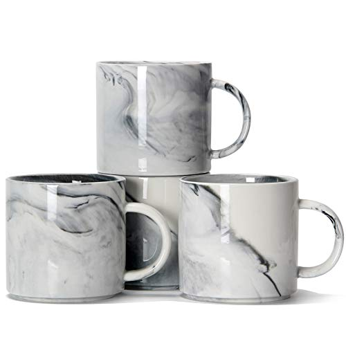 12 oz Stackable Coffee Mugs, Smilatte M101 Novelty Marble Ceramic Cup for Boy Girl lover, Set of 4,...
