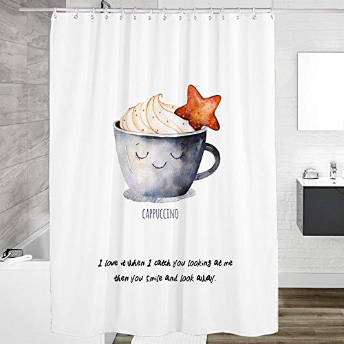 Duschvorhang Cappuccino Duschvorhang Mit Motiv Polyester Stoff Verstärktem Saum Wasserdicht Waschbar Antibakteriell Mit 12 Duschvorhangringen240X180 cm