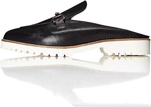 find. Mules Damen mit Loafer-Design und breiter Sohle, Schwarz (Black), 39 EU