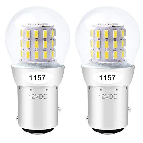 ALOPEE - 2-Stück Weiß 1157 Glühbirne 2057 2357 Lichtlampe - Super Hell 12-15V DC - Für Blinklicht Parklicht Rückfahrscheinwerfer RV Licht