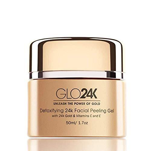 GLO24K Gel peeling viso con 24k, formula anti-invecchiamento con vitamine C...