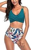 FEOYA Mujer Traje de Baño Push Up Retro Bikini de Baño Halter Bañador para Playa y Piscina Verde M