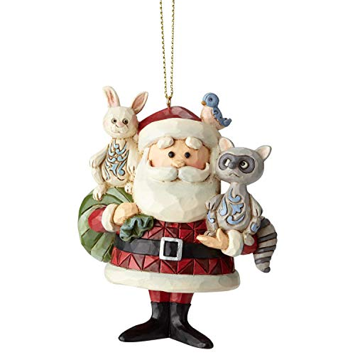 Enesco Rudolph The Red Nosed Reindeer by Jim Shore Santa with Woodland Animals Hanging Ornament, 3.6', Multicolor